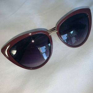 Glassons Maroon Red Cat Eye Sunglasses NWOT